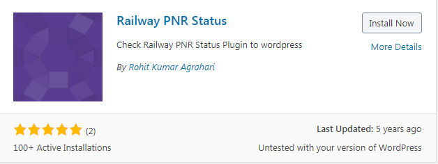 WordPress Railway PNR Status Plugin